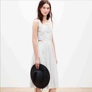 Madewell striped cutout cotton sundress dress